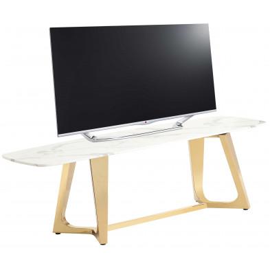 Meuble tv design avec un plateau en marbre artificiel blanc et un piètement en acier inoxydable poli doré Collection Veneta L. 180 x P. 42 x H. 45 cm