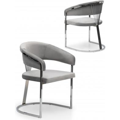 Chaise design en acier chromé argenté et revêtement en velours gris clair collection ALARA L. 55 x P. 55 x H. 85 cm