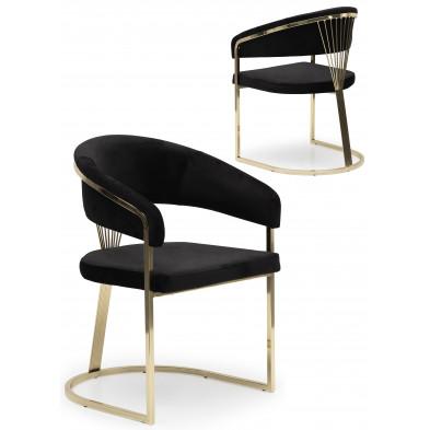Chaise design en acier chromé doré et revêtement en velours noir collection ALARA L. 55 x P. 55 x H. 85 cm