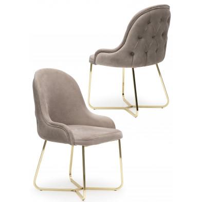 Lot de 2 Chaises de salle à manger coloris Beige Design en Velours et piétement en acier chromé doré L. 45 x P. 50 x H. 90 cm collection GALEN