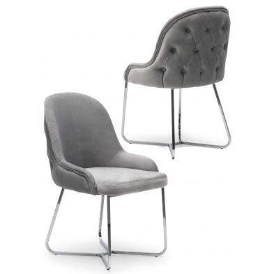 Lot de 2 Chaises de salle à manger coloris gris clair Design en Velours et piétement en acier chromé argenté L. 45 x P. 50 x H. 90 cm collection GALEN