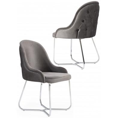 Lot de 2 Chaises de salle à manger coloris gris design en Velours et piétement en acier chromé argenté L. 45 x P. 50 x H. 90 cm collection GALEN