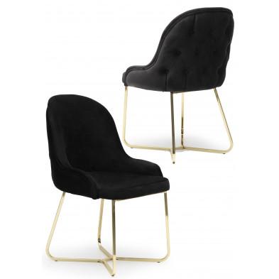 Lot de 2 Chaises de salle à manger coloris noir Design en Velours et piétement en acier chromé doré L. 45 x P. 50 x H. 90 cm collection GALEN