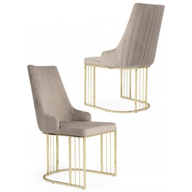 Chaise design en revêtement velours beige et piétement en acier chromé doré L. 50 x P. 50 x H. 97 cm collection RAGNA