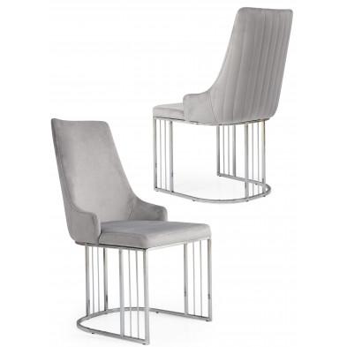 Chaise design en revêtement velours gris et piétement en acier chromé argenté L. 50 x P. 50 x H. 97 cm collection RAGNA