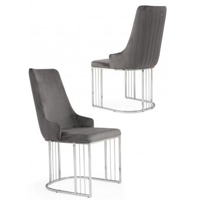 Chaise design en revêtement velours gris foncé et piétement en acier chromé argenté L. 50 x P. 50 x H. 97 cm collection RAGNA