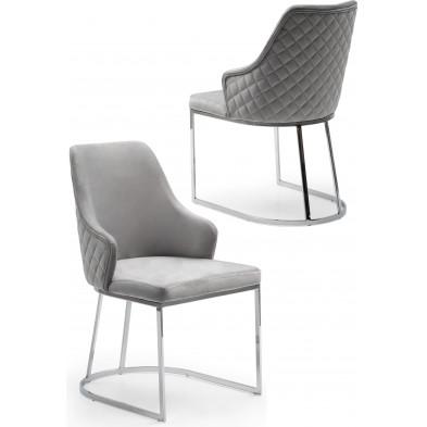Chaise design en acier chromé argenté et revêtement en velours gris clair collection EDDA L. 47 x P. 56 x H. 85 cm