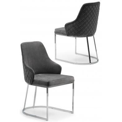 Chaise design en acier chromé argenté et revêtement en velours gris foncé collection EDDA L. 47 x P. 56 x H. 85 cm
