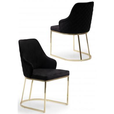 Chaise design en acier chromé doré et revêtement en velours noir collection EDDA L. 47 x P. 56 x H. 85 cm