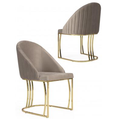 Chaise beige design en velours avec piétement en acier chromé doré L. 50 x P. 50 x H. 85 cm collection ANTONIA