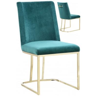 Lot de 2 chaises  de salle à manger  design revêtement en velours vert avec piétement en acier doré  L. 45.5 x P. 53.6 x H. 86 cm collection MILO