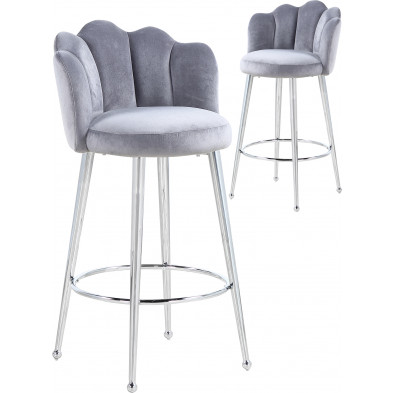 Lot de 2 tabourets de bar design en velours gris avec piétement en acier argenté L. 55 x P. 44 x H. 102 cm collection MARIO