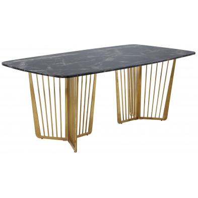 Table  de salle à manger design avec plateau en marbre  noir et pieds en acier doré L. 200 x P. 76 x H. 76 cm Collection FASTRO