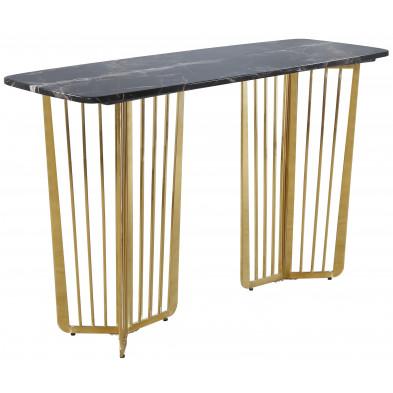 Console design avec plateau en marbre noir et piètement en acier doré L. 140 x P. 55 x H. 85 cm collection FASTRO