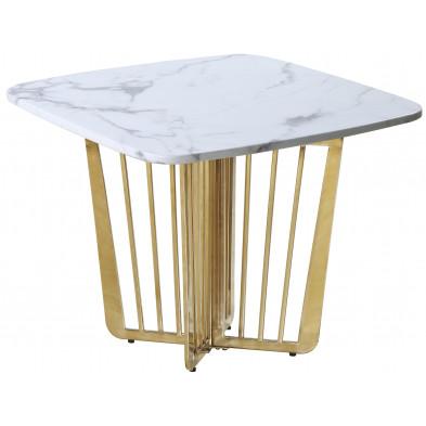 Table  d'appoint design avec plateau en marbre blanc et piètement en acier doré L. 65 x P. 65 x H. 52 cm collection FASTRO