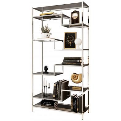 Bibliothèque design en acier et verre  coloris argenté L. 100 x P. 40 x H. 180 cm collection MONZA