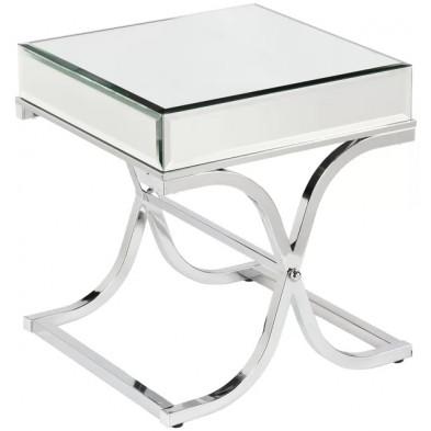 Table d'appoint ultra design en miroir avec piètement en acier inoxydable croisé L. 45 x P. 40 x H. 60 cm collection NOVE