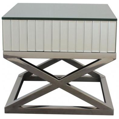 Table d'appoint ultra design piètement croisé en acier inoxydable poli et plateau en miroir L. 60 x P. 48 x H. 58 cm collection GALA