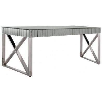 Table de salle à manger design plateau en miroir avec piètement en acier inoxydable poli L. 180 x P. 90 x H. 76 cm collection GALA