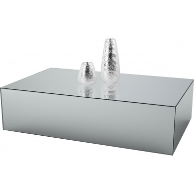 Table basse design bloc rectangle en miroir clair L. 130 x P. 70 x H. 45 cm collection PALO