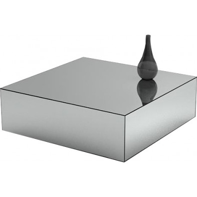 Table basse design bloc carré en miroir clair L. 100 x P. 100 x H. 45 cm collection PALO