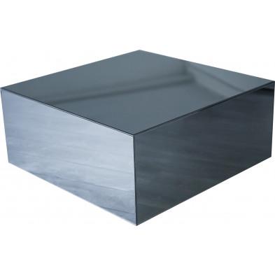 Table basse design bloc carré en miroir anthracite L. 100 x P. 100 x H. 45 cm collection PALO