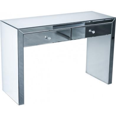 Console ultra design en miroir avec 2 tiroirs  L. 120 x P. 45 x H. 80 cm collection TOLLE