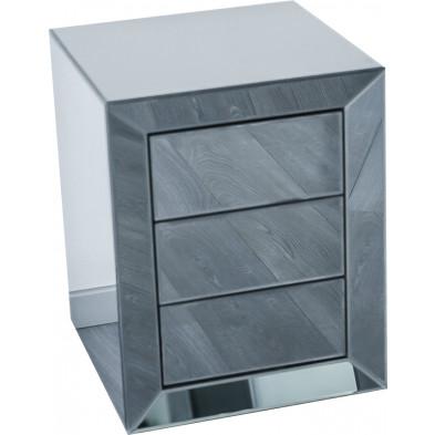 Table de chevet ultra design en miroir anthracite avec 3 tiroirs push open L. 45 x P. 45 x H. 58 cm collection LENNA