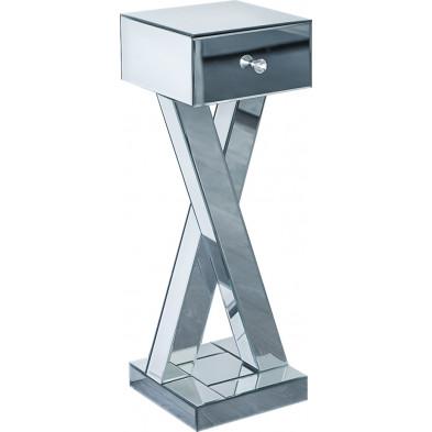 Table chevet haute ultra design avec pied croisé en miroir avec 1 tiroir L. 30 x P. 30 x H. 91 cm collection SESTU