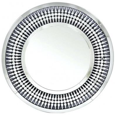 Miroir argenté design en bois mdf et verre  L. 100 x P. 3 x H. 100 cm collection BOSARO