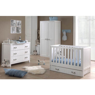 Chambre bébé complète blanc contemporain en collection Boles