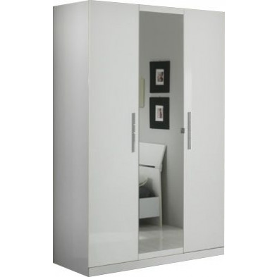 Armoire enfant blanc design en panneaux de particules de haute qualité L. 135 x P. 58 x H. 210 cm collection Fischach