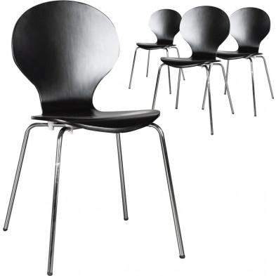 Lot de 4 chaises design en bois et métal coloris anthracite L. 85 x H. 50 cm collection Schendelbeke