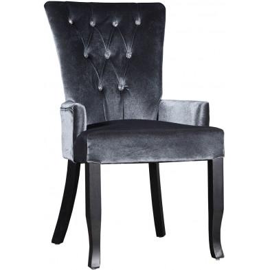 Chaise design en velours coloris gris avec strass L. 55 x H. 95 cm collection Comptonabbas
