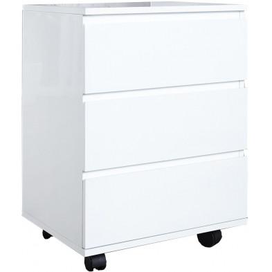 Meuble de rangement moderne en mdf coloris blanc laqué L. 47 x P. 40 x H. 63 cm collection Borgman