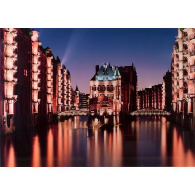 Tableau design magnifique vue ville hambourg L. 140 x H. 100 cm collection Najwa