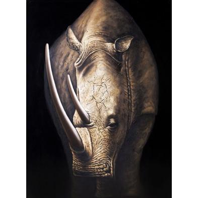 Tableau design en toile motif rhinocéros L. 75 x H. 160 cm collection Bolanos