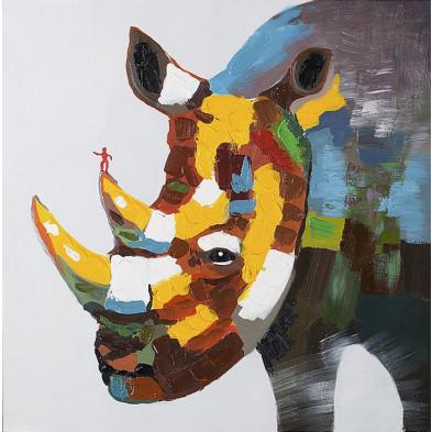 Tableau moderne en toile motif rhinocéros 80 cm collection Scarf