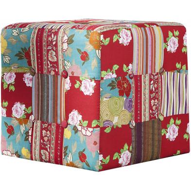 Pouf design en tissu  100 % coton coloris multicolor  L. 40 x P. 40 x H. 40 cm collection Tramper