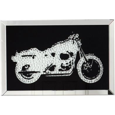 Tableau moderne en verre motif moto garnie de cristaux L. 90 x P. 5 x H. 60 cm collection Andora