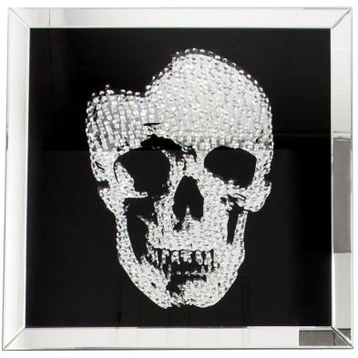 Tableau moderne en verre motif crâne garni de cristaux L. 100 x P. 5 x H. 100 cm collection Andora