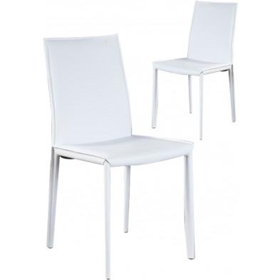 Lot de 2 chaises design en air cuir coloris blanc L. 90 x P. 445 x H. 55 cm collection Deviber