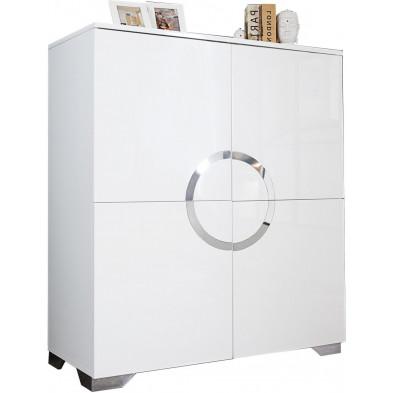 Vaisselier design en mdf coloris blanc brillant L. 100 x H. 120 cm collection Zwiep