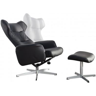 Fauteuil relax avec tabouret design inclinable en pvc coloris noir L. 70 x P. 80-105 x H. 90-100 cm collection Opalocka