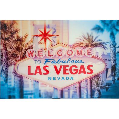 Tableau moderne en verre trempé motif Las Vegas L. 120 x H. 80 cm collection Soumoy