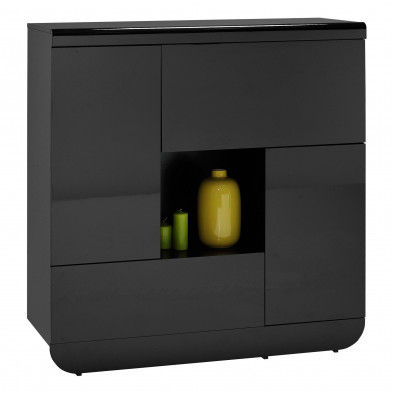 Vitrine noir design en bois mdf L. 120 x P. 56 x H. 129 cm collection Schimmel
