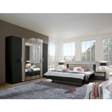 Ensemble chambre à coucher avec lit 160x200 cm et armoire 225 cm coloris chêne et noir  collection Vanhoogdalem