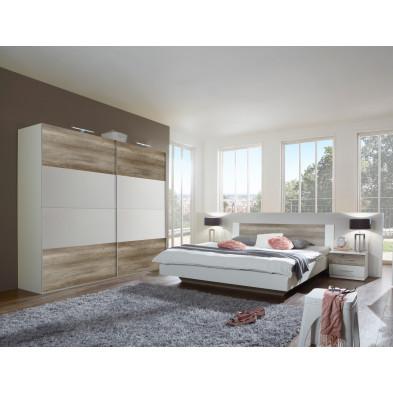 Ensemble chambre à coucher avec lit 180x200 cm coloris chêne et blanc collection Vanhoogdalem