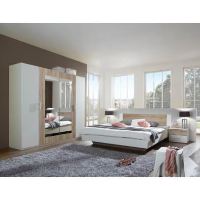 Ensemble armoire 225 cm + lit 160x200 cm + 2 chevets coloris chêne clair et blanc collection Vanhoogdalem