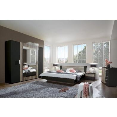 Ensemble chambre à coucher avec lit 140x200 cm et armoire 225 cm coloris chêne et noir collection Vanhoogdalem
